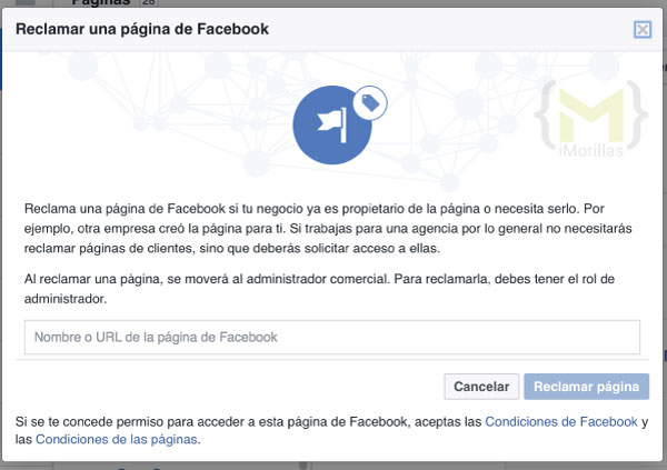 Reclamar una página de Facebook desde el administrador comercial
