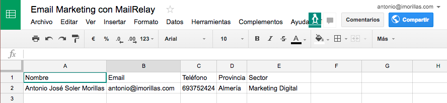 Hoja de Excel de Google para email marketing