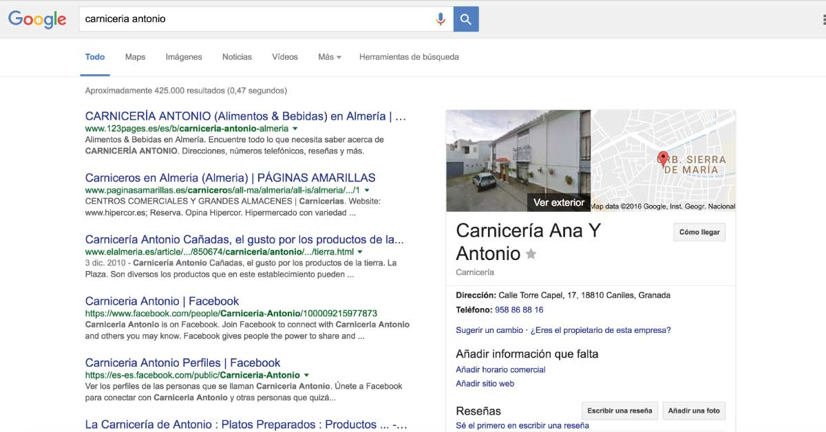 Empresa sin verificar en Google My Business