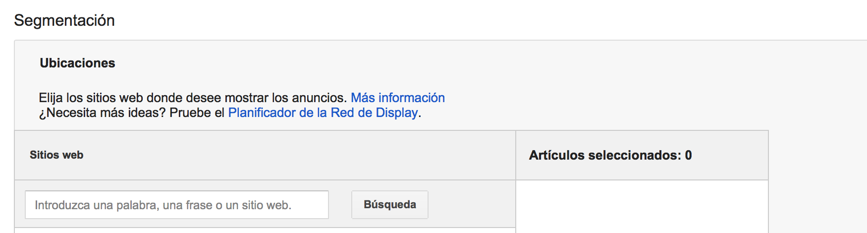 Segmentación de ubicaciones en google adwords display