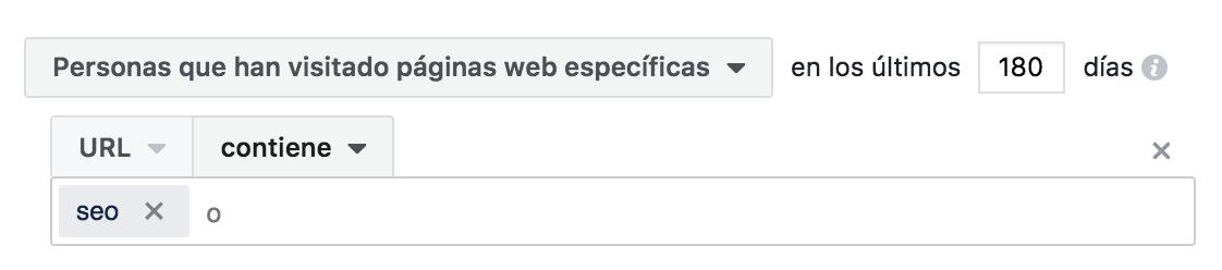 Segmentación por url pixel facebook