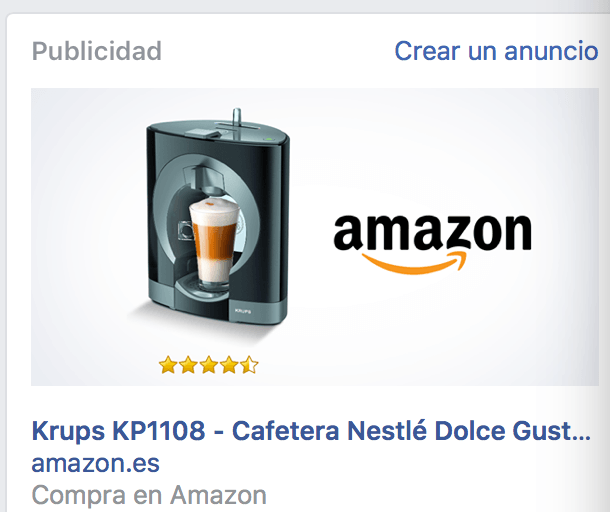 Remarketing de Amazon en Facebook