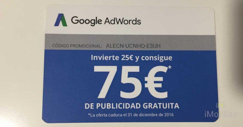 Gratis 75€ de Adwords