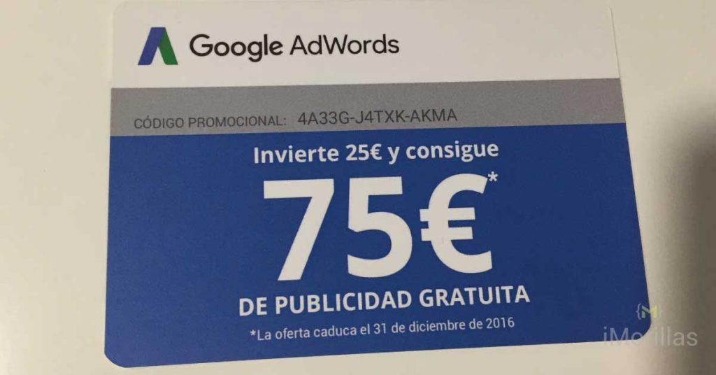Invierte 25€ en Adwords y 75€ Gratis