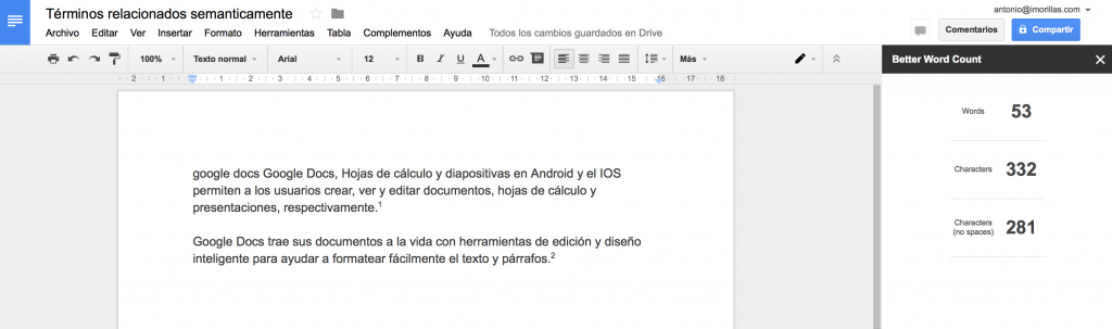 better word count - google docs