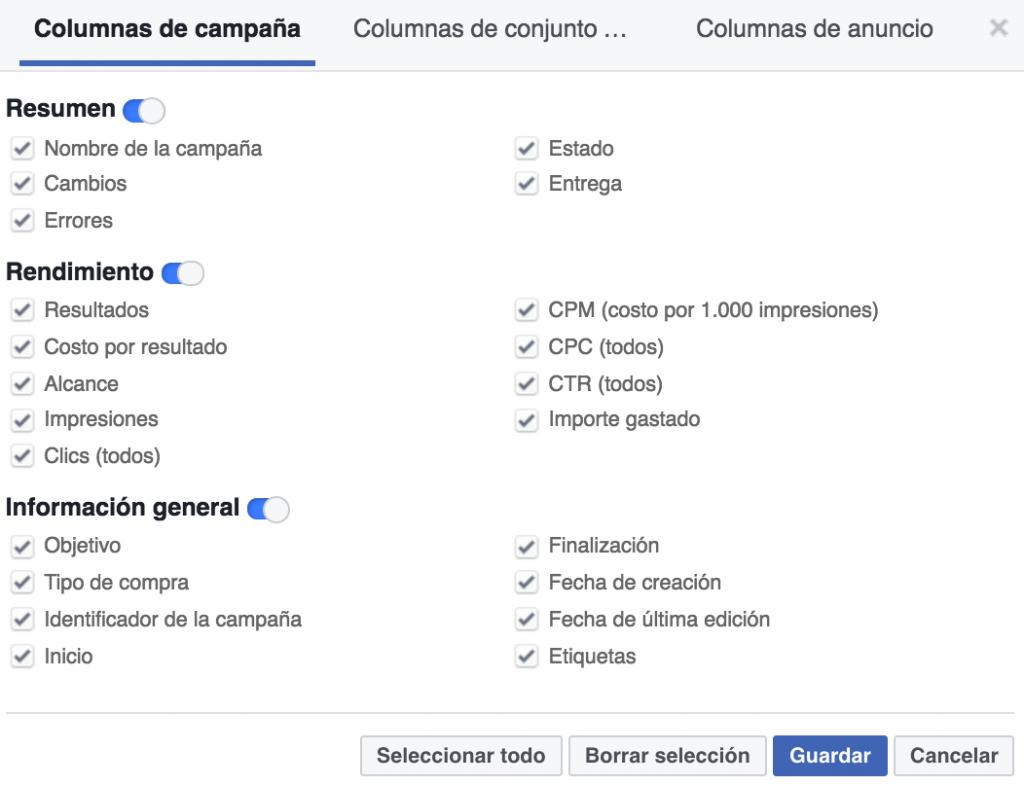 Columnas de campaña, conjunto o anuncios en facebook