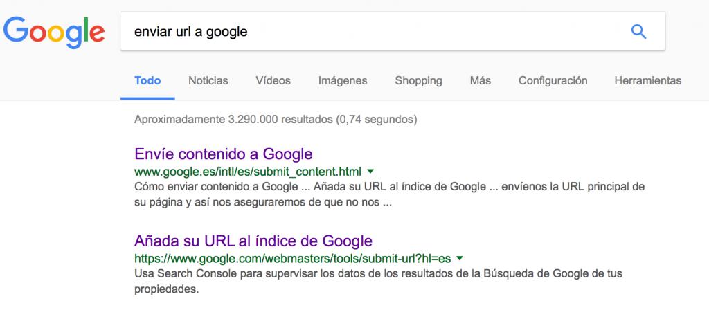 Enviar url a google