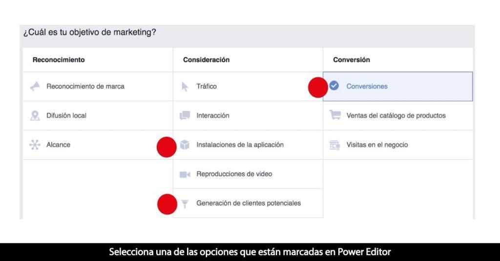 selecciona las opciones de objetivo en power editor