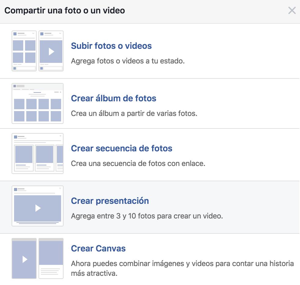 Tipos de publicación en Vídeo o Foto