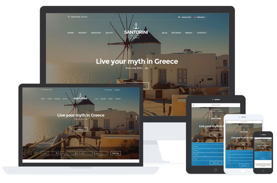 Santorini Resort - WordPress para Hoteles