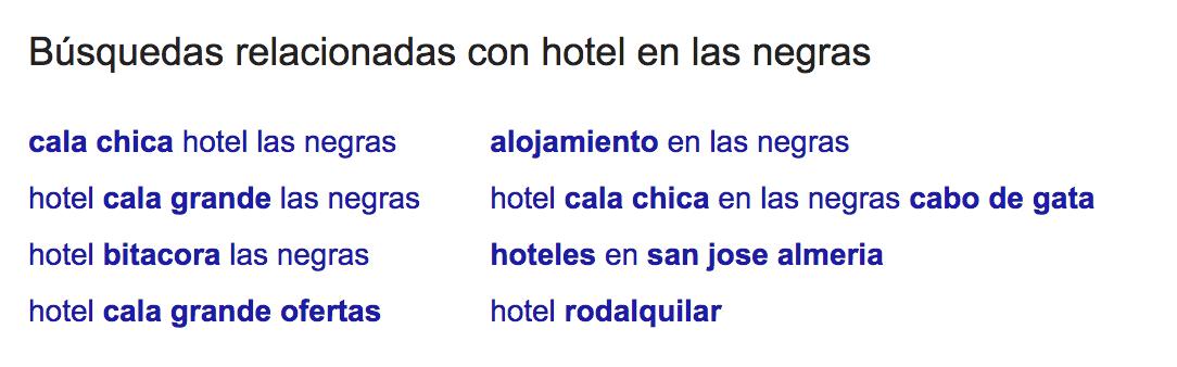hotel en las negras - google suggest