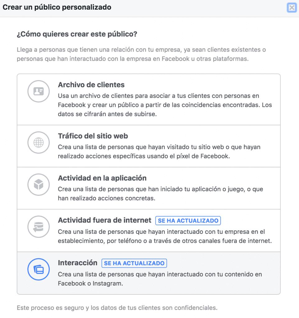 Captura de pantalla 2018 Crea un público personalizado