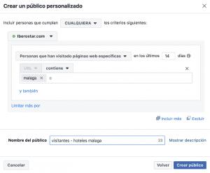 Público Personalizado para Embudo de Conversión en Facebook