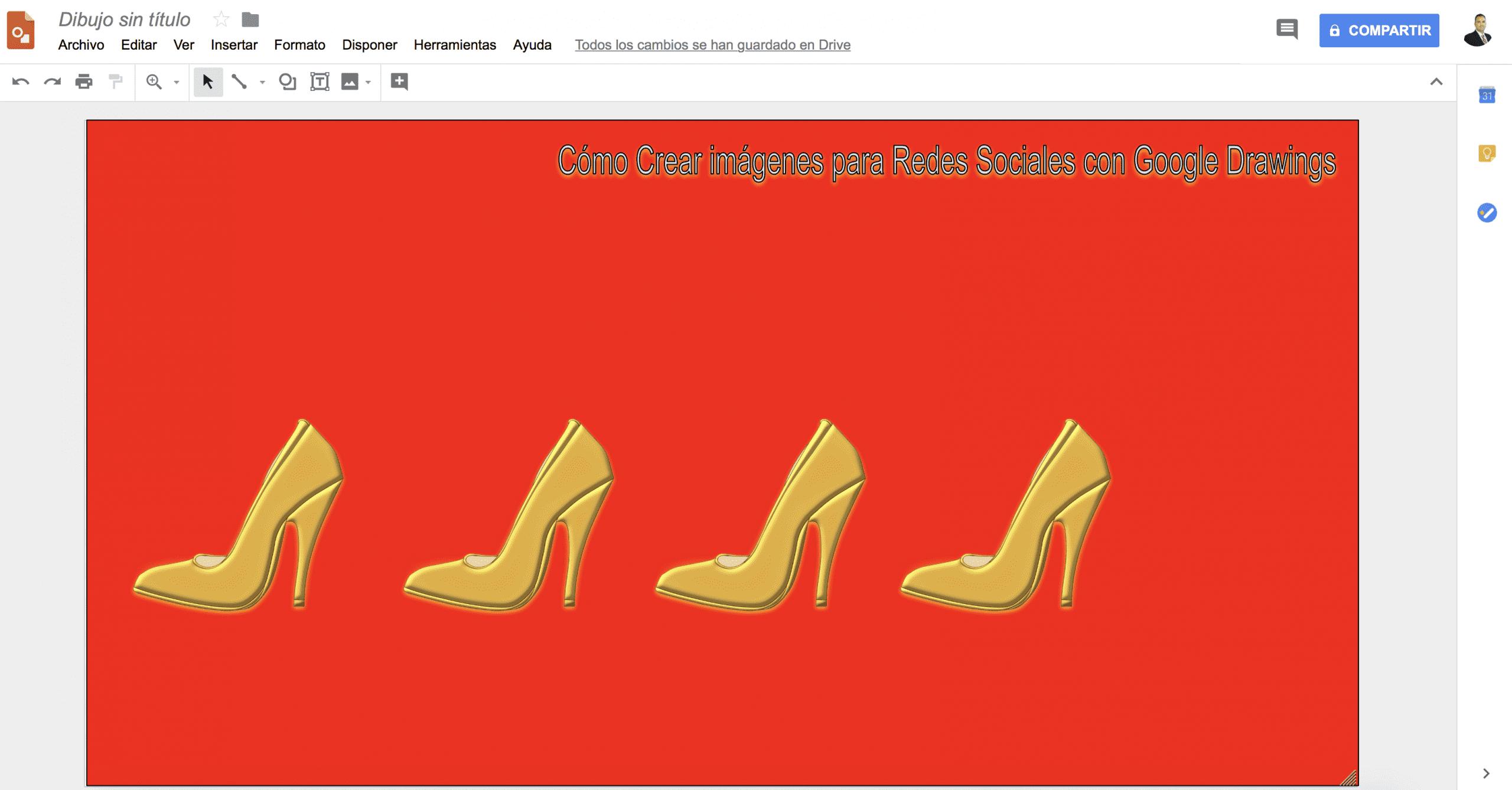 Para enviar al fondo esta imagen y que vuelva a verse la imagen de los zapatos que hemos creado, tienes dos opciones. Puedes hacer que el color sea transparente utilizando el control deslizante a la derecha del cuadro de diálogo de color personalizado, o selecciona la imagen y elige Organizar> Ordenar> Enviar al fondo.» class=»wp-image-12758″/></figure>    <p><strong></strong></p>    <p>Si necesitas cambiar el tamaño de una imagen que has insertado, mantén presionada la tecla Mayúscula para mantener la relación de aspecto de la imagen y evitar la distorsión del diseño. Luego arrastra una de las esquinas hacen de controlador de tamaño hasta que la imagen tenga el tamaño que quieras. Si cambias el tamaño de una imagen, evita agrandarla si no tiene calidad suficiente.</p>    <h2>4.- Escribir y formatear texto como un pro</h2>    <p>Si estás agregando texto a tus imágenes para redes sociales, obtener las combinaciones de fuentes correctas es más importante de lo que podrías pensar. Las pequeñas cosas (como la elección de la fuente) distinguen el contenido profesional del aficionado. Afortunadamente, Google tiene tu espalda bien cubierta. No solo <strong>Google Drawings</strong> tiene más de 400 fuentes, <a href=