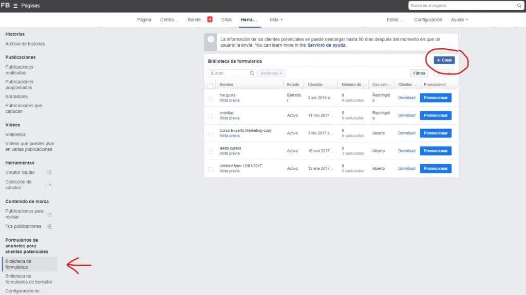 crear formulario en Facebook